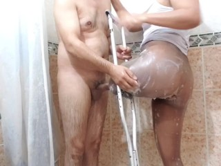 In the shower with my amputee wife massaging my member with her stump in pantyhose (part 2)