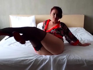 lexible lady in nylon and satin lingerie Hot bitch in a maid costume Hotel maid PART 3