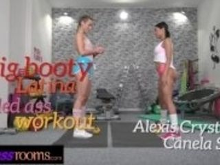 """Fitness Rooms Big ass Latina MILF facesitting with Alexis Crystal in gym"""