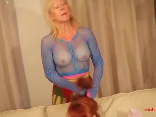 Crimson gonzo and her gf get insane in nylons