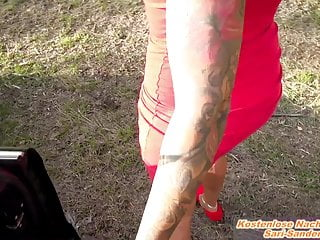 German unexperienced cougar good-sized boobs outdoor point of view hitchhiker mommy