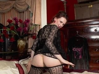 Antique damsel with stocking and wooly labia