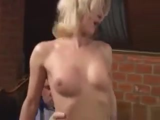 Platinum-blonde cougar With petite faux mounds