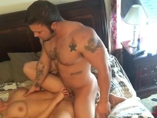 Muscle stud fucks wife in multiple positions until both orgasm!