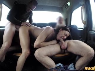 A insatiable wifey Cassie loves 3some orgy in cab. 2 bones are nicer than one.