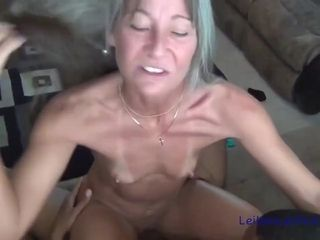 Skinny, mature woman is sucking her black lovers rock hard meat stick before getting fucked hard