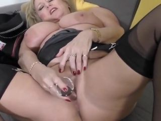 Nice UK Mature tramp takes off and porks Herself