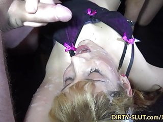 Slutwife Nicole gnawing away cum non-native surplus be fitting of guys