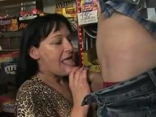 Busty tattooed hungarian mother fucked in a food store