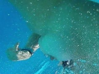 'Milf caught making porn outside, then sucks and fucks and jerks husband off underwater.'