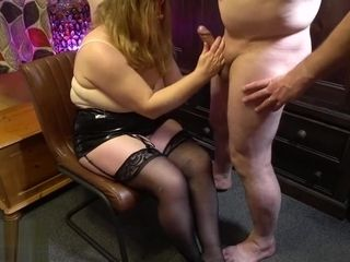 MILF Gives a Sexy Handjob and Makes Him Shoot Cum All Over Her Stockings