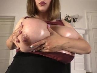 'Samanta Lily shows on cam how she loves to touch her huge boobs'