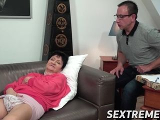 Insatiable grannie leaned over and humped by junior dude