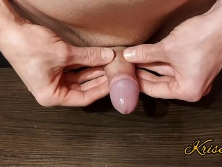 gently massaging the head of the penis, I lead to a gentle pissing