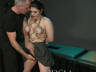 Black Haired Sub Has Breasts Tied To The Ceiling