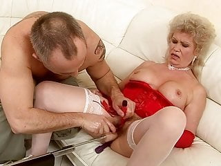 Grandmother Effie blows a load and blasts splooge from her vag