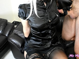 [MINI] CFNM handjob with satin gloves with cumshot on tits in satin blouse