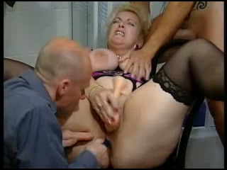 Mature slut in a threesome with toys and 2 big cocks