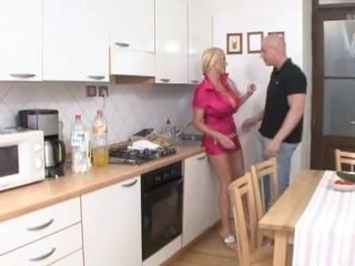 Big boobs mature fucked in the kitchen
