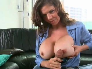 Huge titted officer deep-throating and poking stiff sausage in point of view