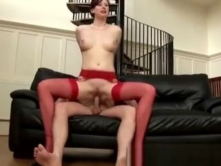 Mature doll in crimson stocking banged and cummed
