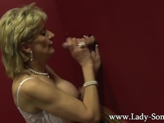 Huge-chested brit mature woman Sonia visits a gloryhole