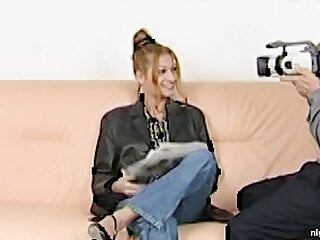 Redhead sits on the casting couch and is ready for the fuck