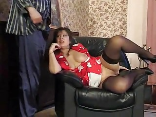 Russian of age Shenythia fucked in excess of curtailed increased by creampied