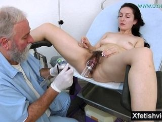 Wifey With fur covered snatch gynecology examination