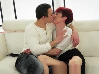 Red-haired euro grandmother plumbed by rock-hard schlong