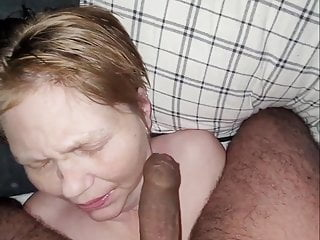 Old whore facial with piss panties in pussy and face