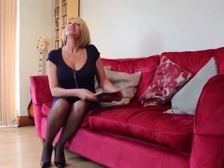 Busty british milf takes on a couple of junior cocks