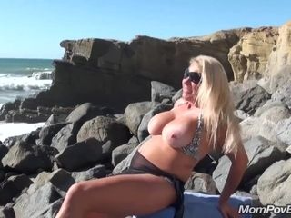 Large-Breasted blonde hair stunner housewife public beach demonstrating