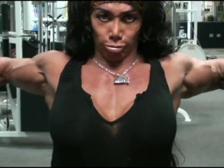 Big Breasted FBB Performs Pec Deck Muscle Explosion in Gym