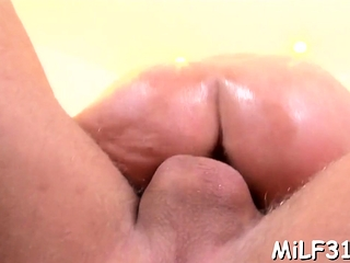 Lusty big-chested brown-haired damsel Kora Cummings's cooch torn up