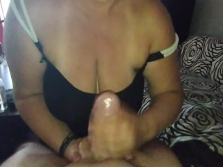 handjob with oil from wife until cumshot