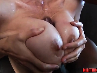 Large titties cougar hard-core with spunk on titties