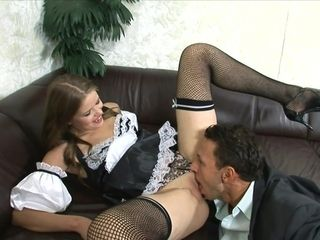 A luky dude has a 3some with his wifey and super-sexy maid. Utter sequence.