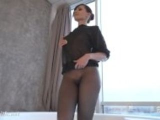 """""""Jeny Smith in wet pantyhose on her naked body in the bathroom"""""""