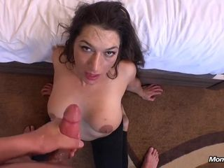 Naughty mommy gets my salty semen in her mouth