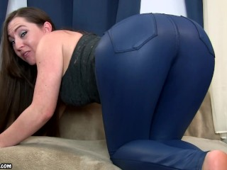 Gassy Booty in Blue Leather Pants - Fart Princess Kristi Rips Huge Farts in Leather Pants