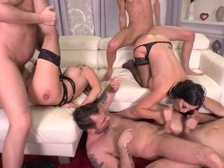Jasmine Jae and Barbie Sins are getting their asses fucked, during the best gangbang ever