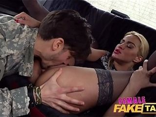 Nymph faux cab naughty soldiers super-steamy super-sexy blow-job and dual cum-ssuper-steamy