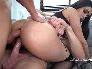 Yam-sized butt superslut Aaliyah Hadid gets her booty &amp_ cunt packed by 2 yam-sized weenies