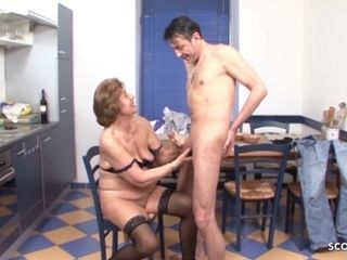Grandson entice unshaved grandmother to Make enjoy - German antique porno