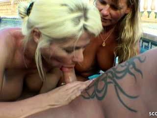 GERMAN MATURE and STEP stepsister in HOLIDAY POOL 3some