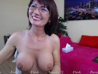Brunette Mature mom in eyeglasses teasing solo on webcam