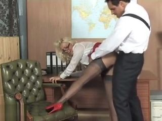 Handsome towheaded office biotch Lana Cox plowed deep and left cascading with jism