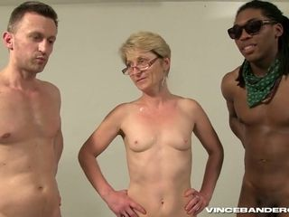 Horny short haired granny gangbang video