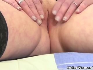 Mature woman could not hold back from masturbating in front of the camera, like her friends